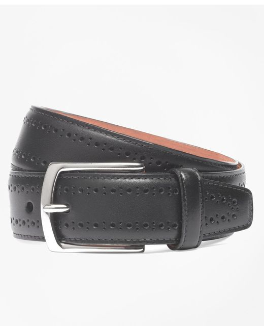 Brooks Brothers - Black Allen Edmonds Perforated Belt for Men - Lyst