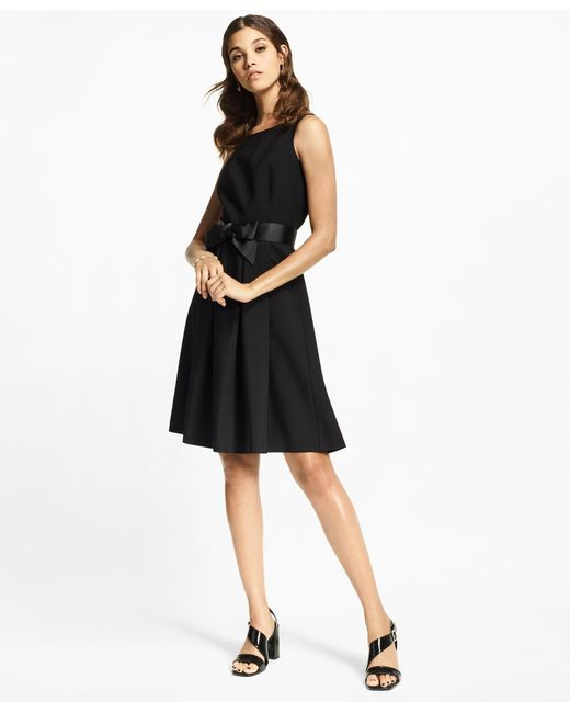 Brooks Brothers - Black Stretch-wool Crepe Flared Tuxedo Dress - Lyst