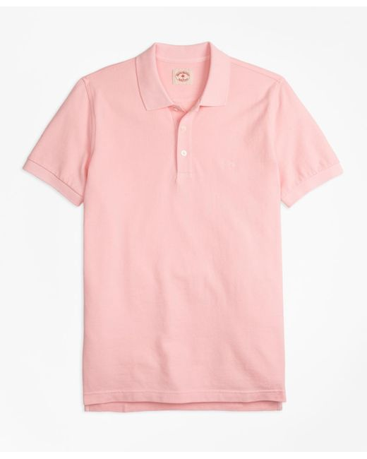 Brooks Brothers - Pink Garment-dyed Cotton Pique Polo Shirt for Men - Lyst