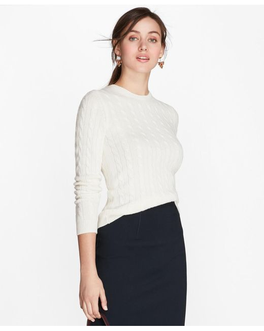 Brooks Brothers - White Cashmere Cable Crewneck Sweater - Lyst