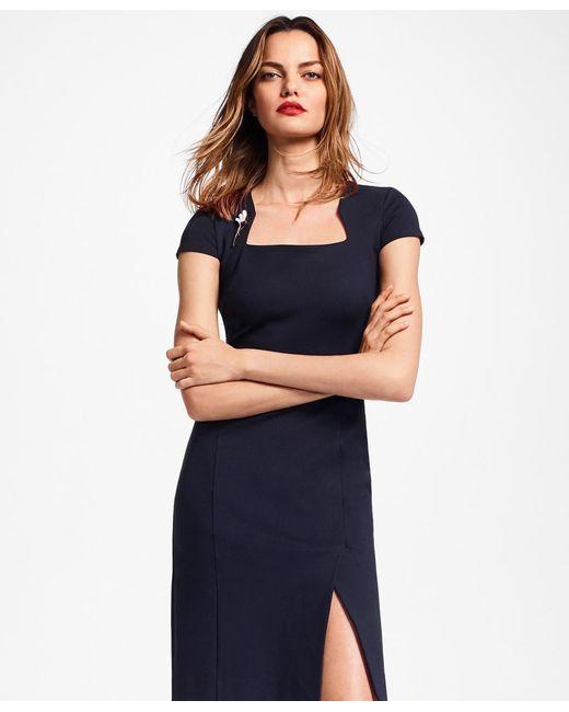 85b354105d1 Brooks Brothers - Blue Ponte-knit Square-neck Sheath Dress - Lyst ...