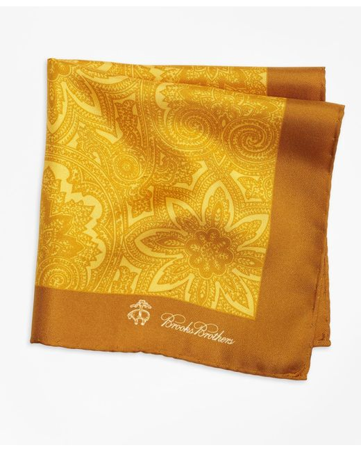 Brooks Brothers | Metallic Paisley Pocket Square for Men | Lyst