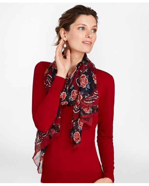 Brooks Brothers - Red Rose-print Silk Chiffon Oblong Scarf - Lyst