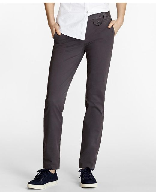 Brooks Brothers - Gray Stretch-cotton Twill Pants - Lyst