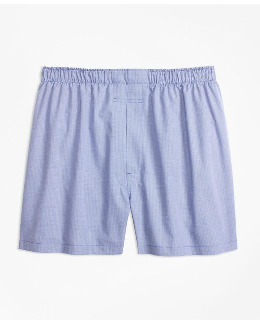 Brooks Brothers - Blue Traditional Fit Micro-check Boxers for Men - Lyst