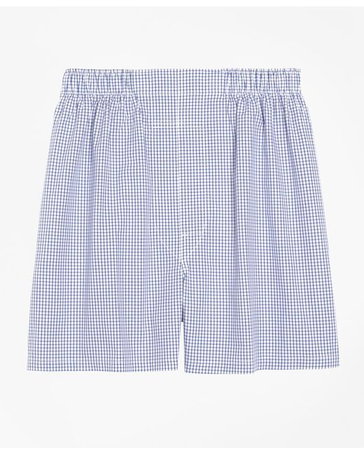 Brooks Brothers - Blue Slim Fit Small Check Boxers for Men - Lyst