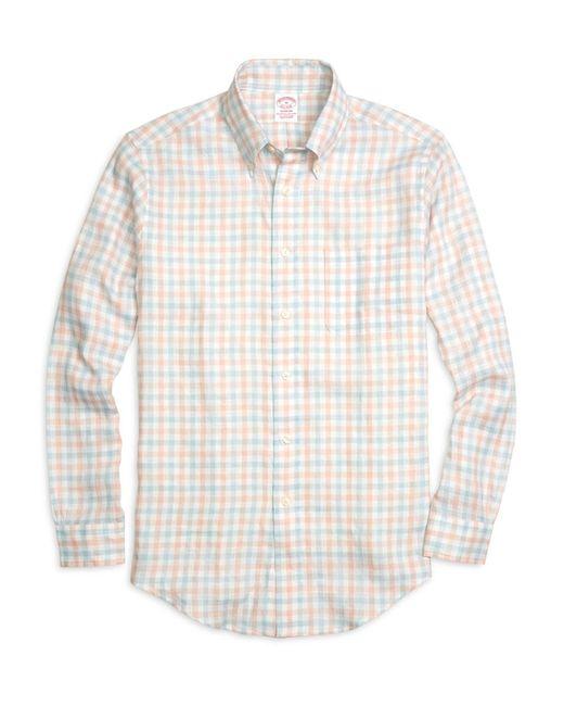 Brooks Brothers - Orange Madison Fit Gingham Linen Sport Shirt for Men - Lyst