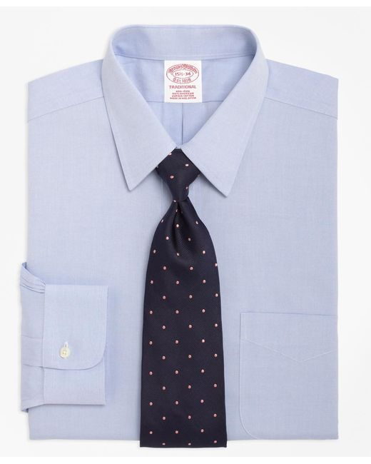 Brooks Brothers - Blue Non-iron Traditional Fit Point Collar Dress Shirt for Men - Lyst