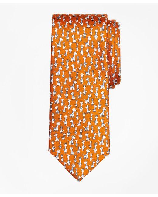 Brooks Brothers | Orange Giraffe Print Tie for Men | Lyst