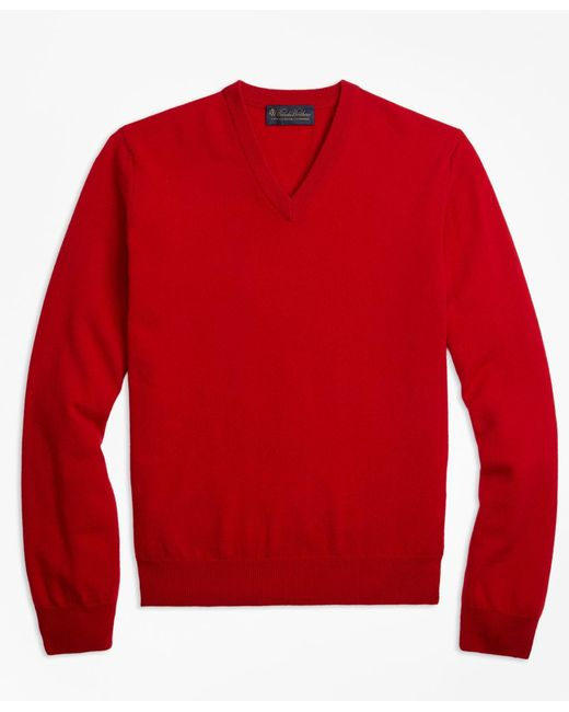 Brooks Brothers - Red V-neck Cashmere Sweater for Men - Lyst