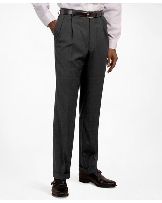 Brooks Brothers - Gray Pleat-front Suiting Essential Trousers for Men - Lyst