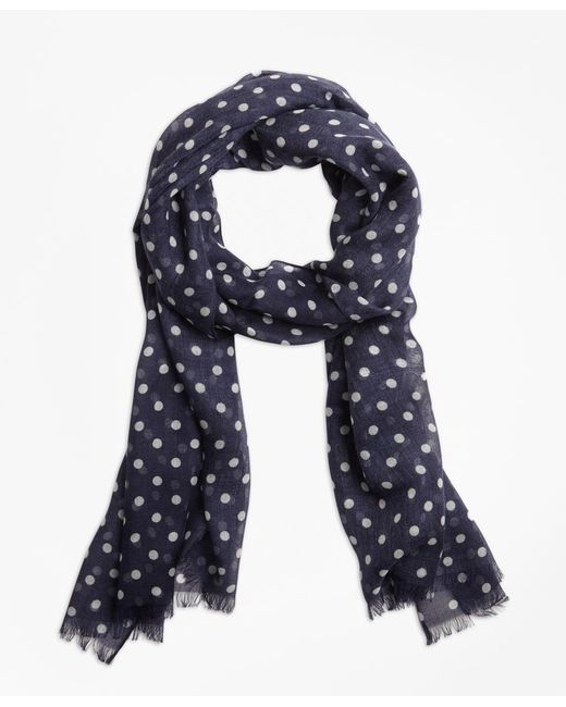 Brooks Brothers - Blue Polka Dot Scarf for Men - Lyst