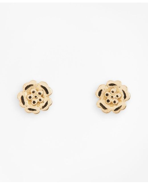 Brooks Brothers - Metallic Floral Stud Earrings - Lyst