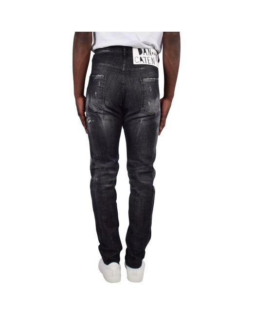 8f8dbb5d600 ... DSquared² - Black Dark Grey Distressed Cool Guy Jeans for Men - Lyst ...