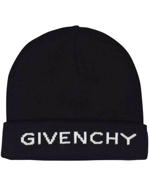 Givenchy - Black/white Logo Beanie Hat for Men - Lyst
