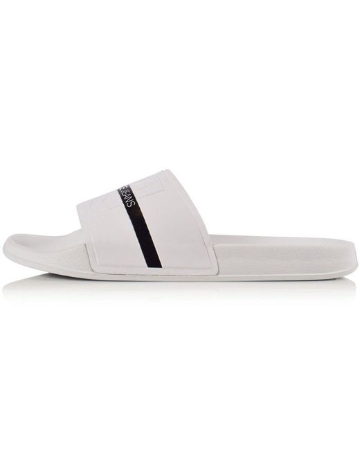 6f876205c08613 Lyst - Versace Jeans White black Stripe Logo Sliders in White for Men