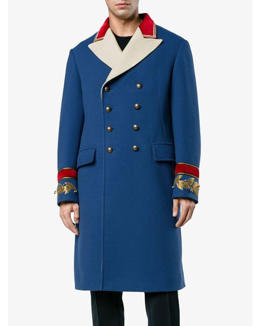 12ead8078 ... Gucci - Blue Wool Cashmere Coat for Men - Lyst ...