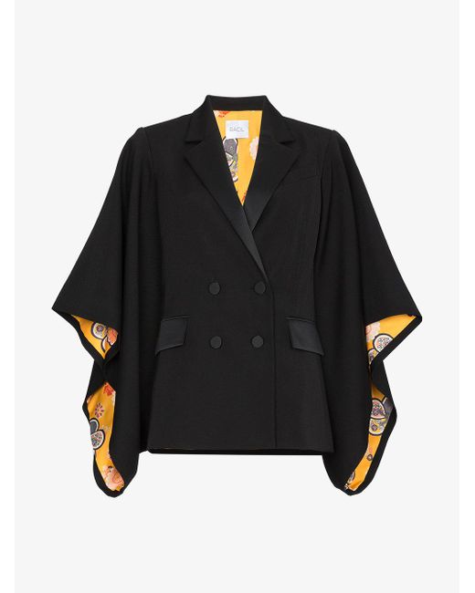Racil - Black Kyoto Contrast Lining Virgin Wool Kimono Jacket - Lyst