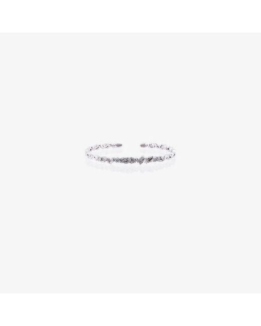 Suzanne Kalan - 18k White Gold And Diamond Fireworks Zigzag Baguette Bangle - Lyst