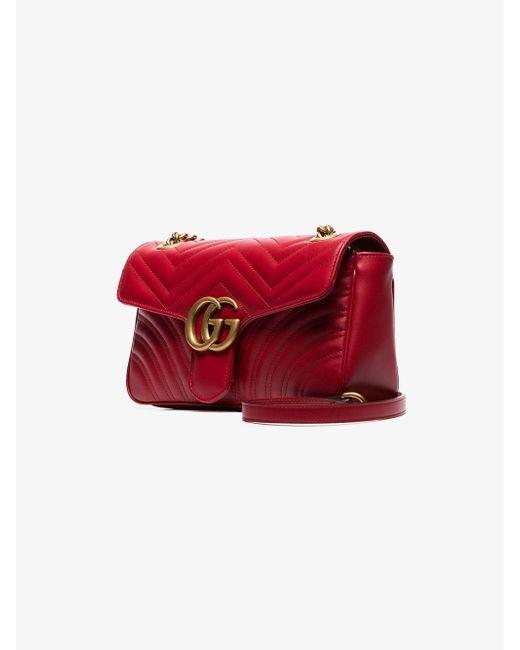 e3c548af6df4cf ... Gucci - Red GG Marmont Small Matelassé Shoulder Bag - Lyst