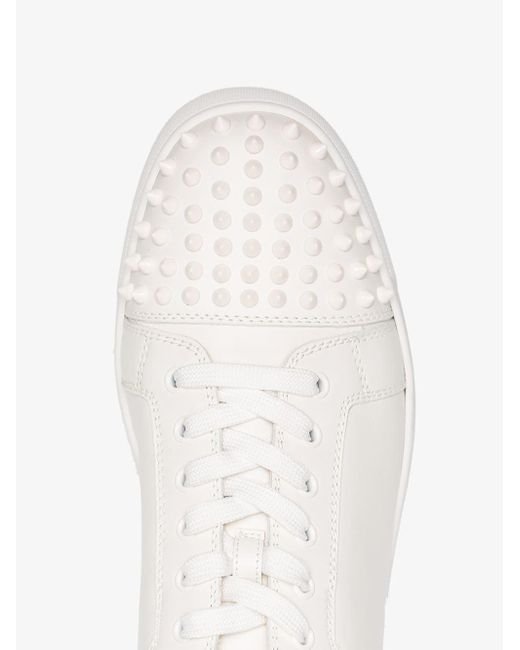 dffcb6b4fc4b ... Christian Louboutin - White Louis Junior Studded Leather Sneakers for  Men - Lyst