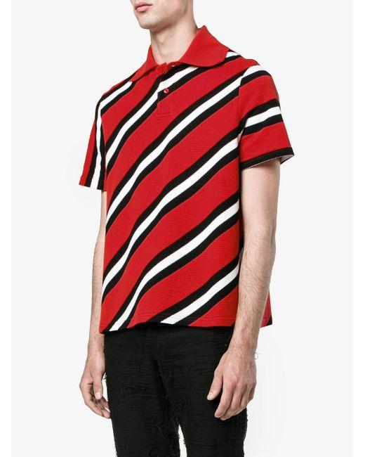 Balenciaga classic stripe polo shirt in red for men lyst for Balenciaga t shirt red