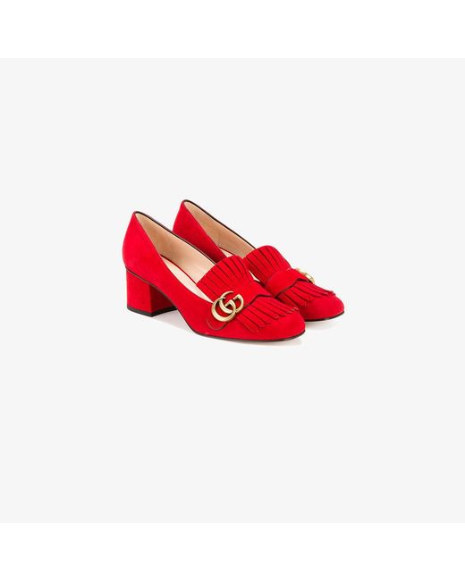 Gucci | Red Marmont Fringed Loafers | Lyst