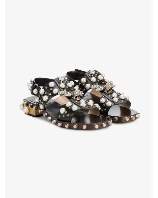 Gucci Pearl And Crystal Studded Sandals In Black Save 5