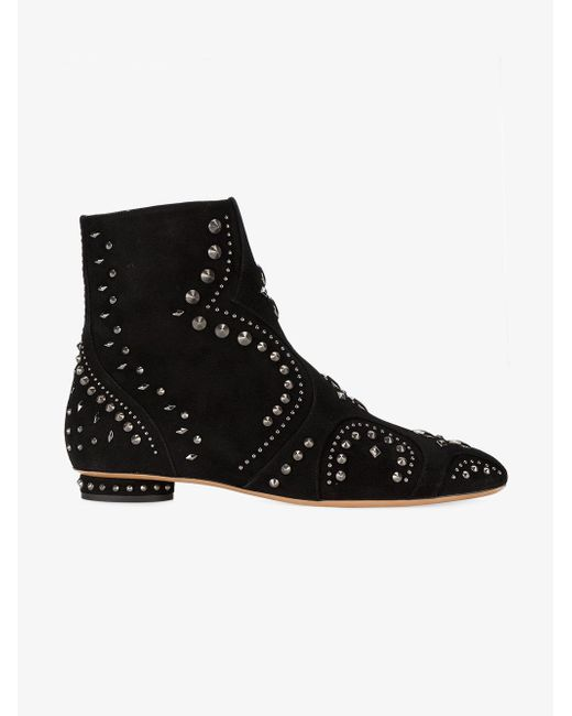 valentino studded flat suede ankle boots in black lyst
