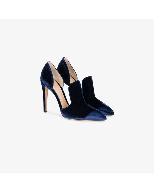Gianvito Rossi | Blue Pointed Toe Velvet Pumps | Lyst