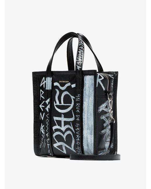 3cf0d52100a3 ... Balenciaga - Black And White Bazar Graffiti Leather Tote Bag - Lyst ...