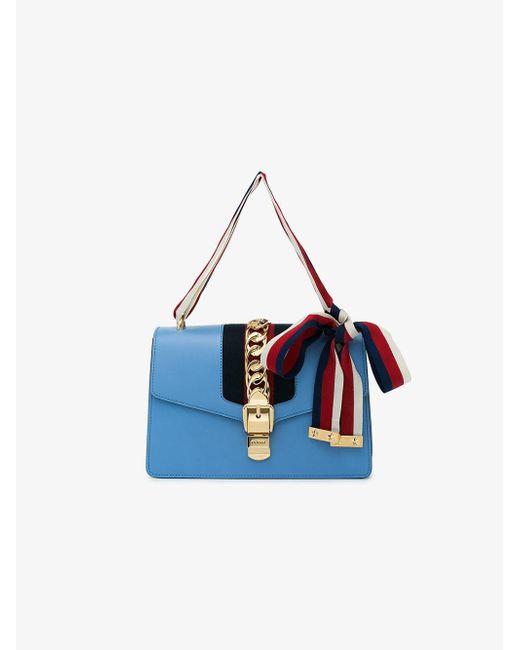a481d50b7f41ae Gucci Gg Web Sylvie Shoulder Bag in Blue - Save 17% - Lyst
