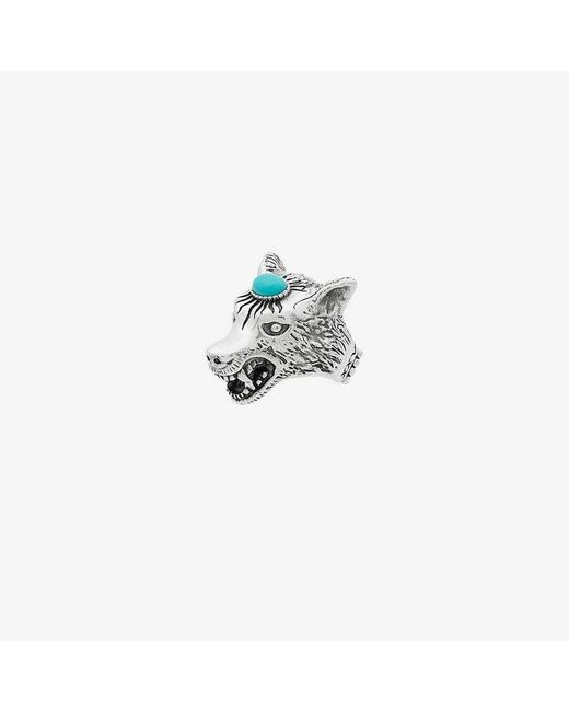 Gucci - Metallic Anger Forest Sterling Silver Wolf Head Ring for Men - Lyst
