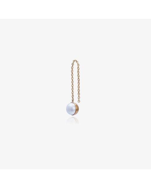 Shihara | Metallic Half Pearl Chain Earring | Lyst