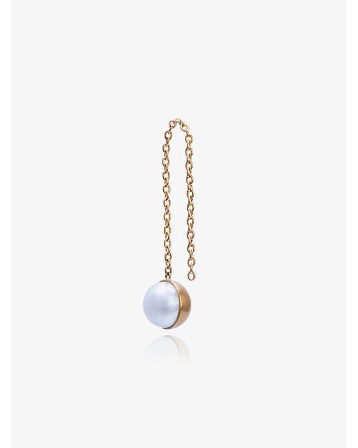 Shihara - Metallic Half Pearl Chain Earring - Lyst
