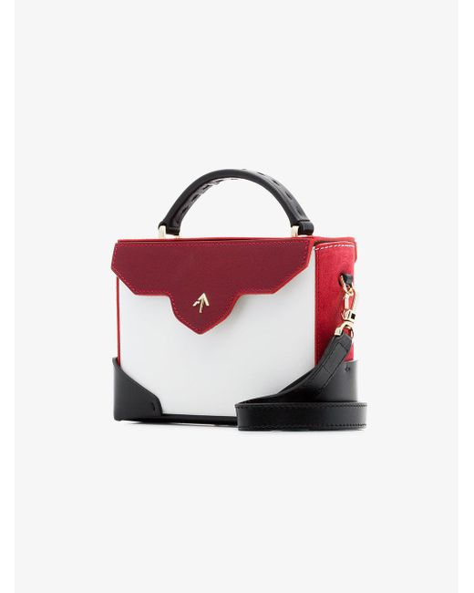 white, red and black Micro Bold leather cross-body bag - Multicolour Manu Atelier