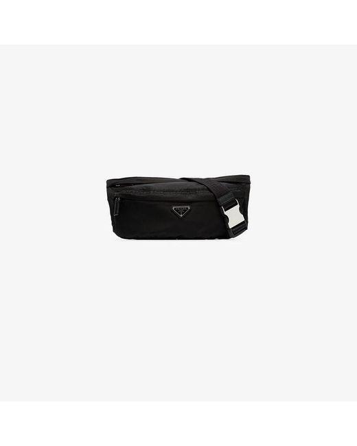 7619d41a6547 ... cheap prada black logo crossbody belt bag for men lyst 6cb22 da32f