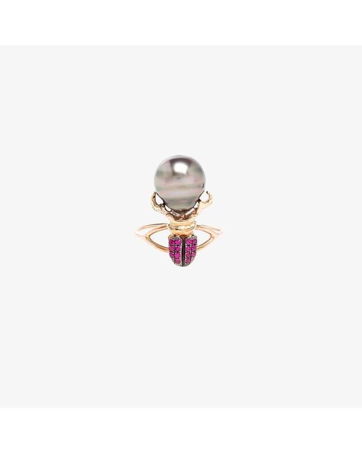 Daniela Villegas | Red Ruby And Pearl Beetle Ring | Lyst