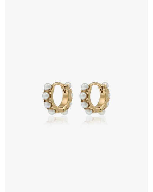 Rosa De La Cruz - Metallic 18k Yellow Gold Mini Pearl Hoop Earrings - Lyst