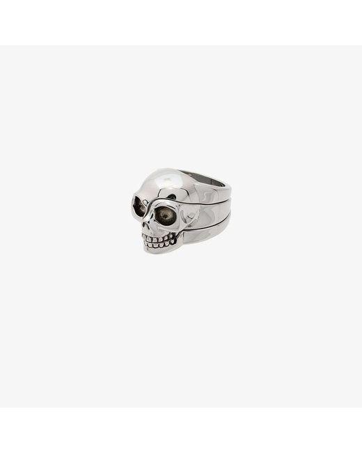Alexander McQueen - Metallic Divided Skull Ring for Men - Lyst