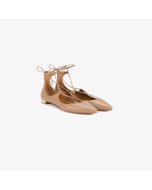 Aquazzura | Natural Christy Leather Ballet Flats | Lyst