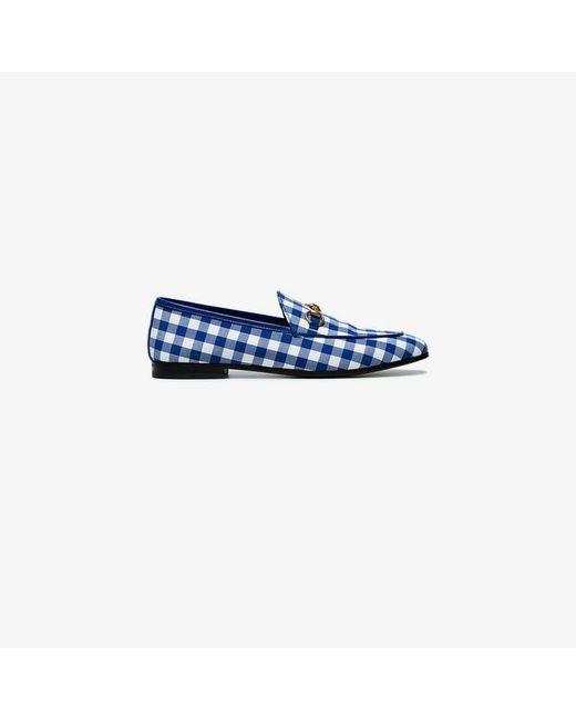 95ba8063a2b Gucci - Blue Jordaan Horsebit Gingham Loafers - Lyst ...