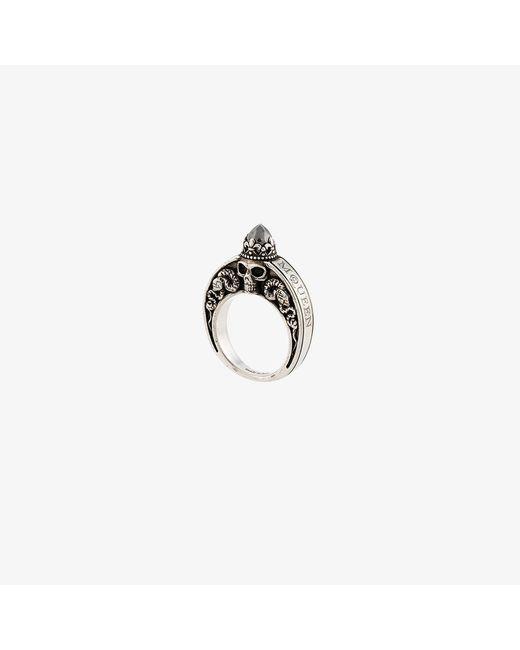 Alexander McQueen | Metallic Engraved Skull Ring for Men | Lyst
