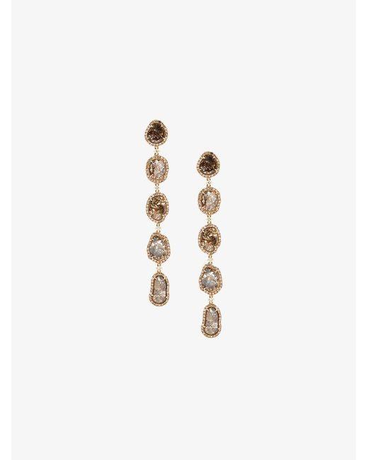 Saqqara - Metallic Long Sliced Diamond Drop Earrings - Lyst