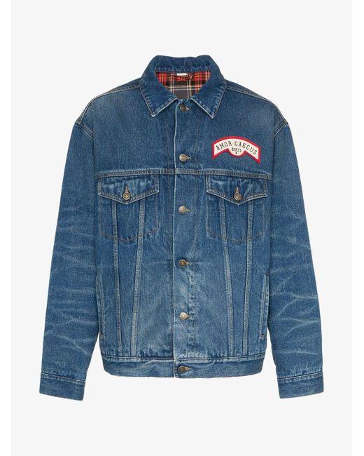 9cfed9aa154 ... Gucci - Blue Oversized Appliquéd Denim Jacket for Men - Lyst ...