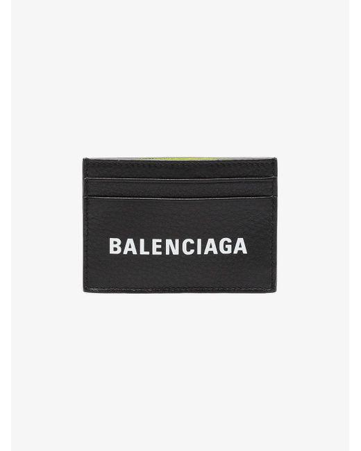Balenciaga - Black Everyday Logo Leather Wallet for Men - Lyst