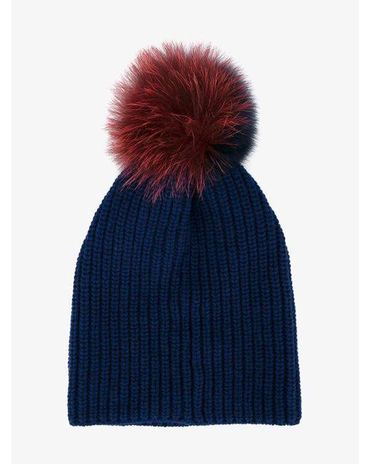 Inverni - Blue Two-tone Fur Pom Pom Beanie - Lyst