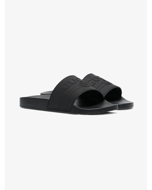 db346efe3 Gucci - Black Logo Rubber Slide Sandal for Men - Lyst ...