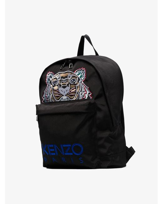 Lyst - Kenzo Black Tiger Logo Embroidered Backpack in Black for Men ca27307b25f4d