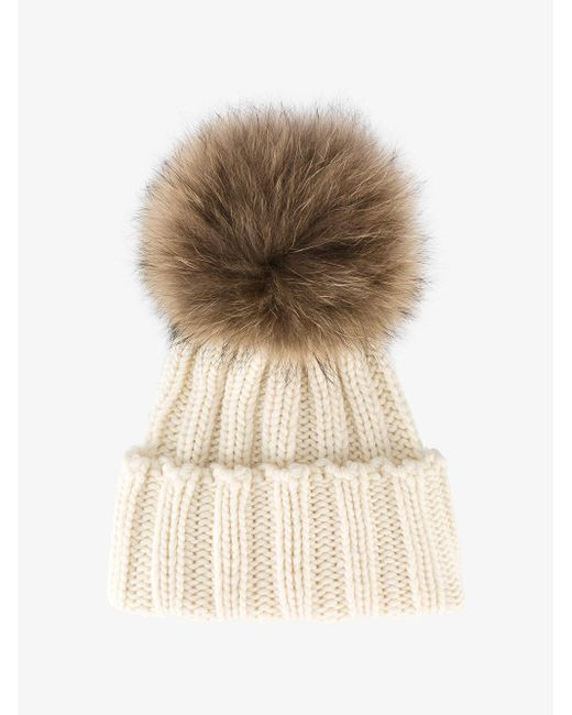 Inverni - Natural Racoon Fur Bobble Hat - Lyst